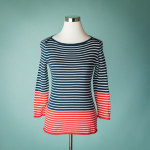 Vineyard Vines S Blue Red Stripe 3/4 Sleeve Top